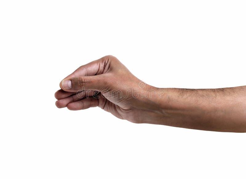 Hand die iets op witte achtergrond hangen royalty-vrije stock afbeelding