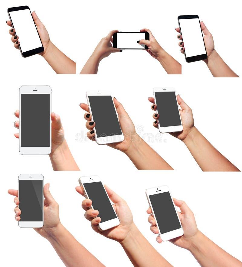 Hand, die intelligentes Telefon anhält lizenzfreie stockfotografie