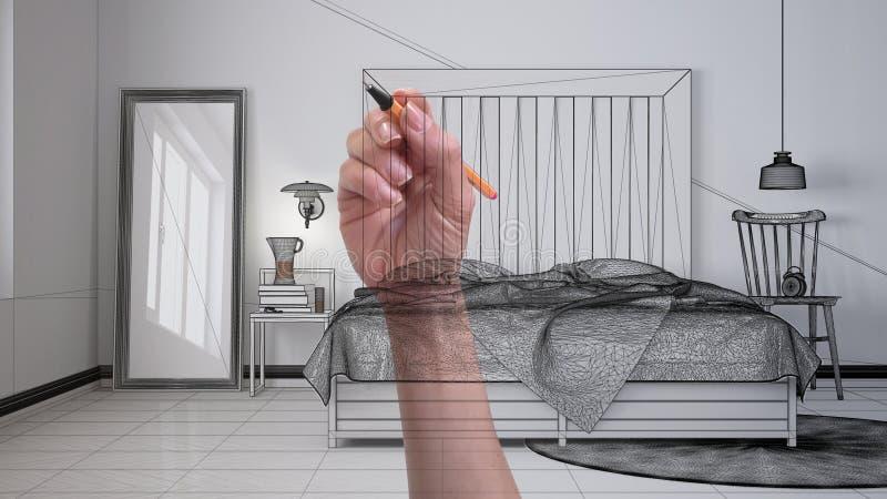 Hand, die kundenspezifisches modernes unbedeutendes skandinavisches Schlafzimmer mit hölzerner Kopfende zeichnet Hergestelltes un stockfotos