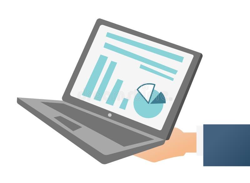 Hand die laptop met grafiek en diagram houden royalty-vrije illustratie