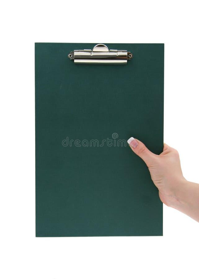 Hand die leeg klembord houdt royalty-vrije stock foto