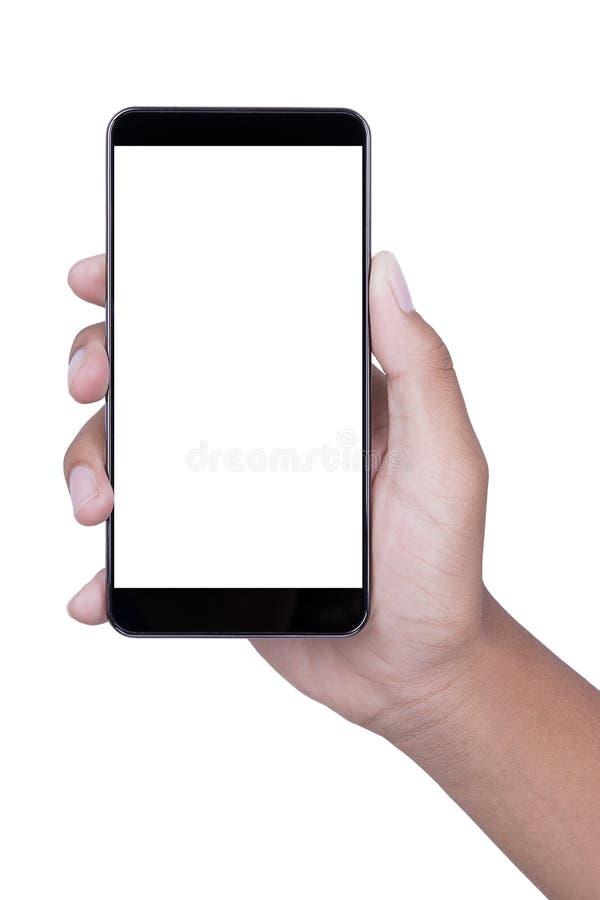 Hand, die leeren Bildschirm Smartphone auf weißem Hintergrund hält lizenzfreie stockfotos