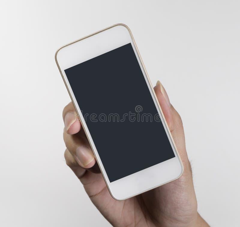 Hand, die leeren leeren Handy hält stockbild