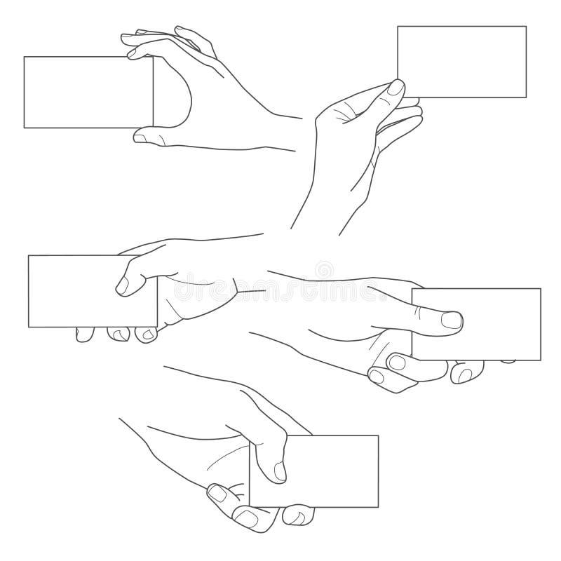Hand, die leeren Visitenkartevektorsatz hält vektor abbildung