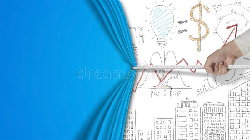 Hand die lege blauwe gordijn behandelde bedrijfsconceptengrafiek D trekken stock foto