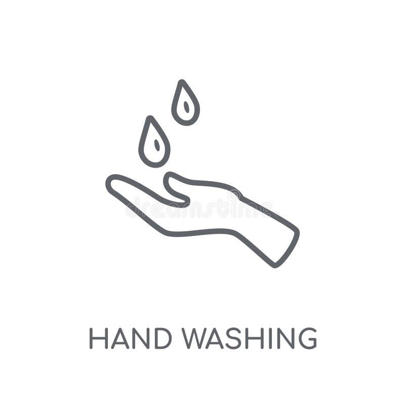 Hand die lineair pictogram wassen Moderne conce van het de wasembleem van de overzichtshand royalty-vrije illustratie