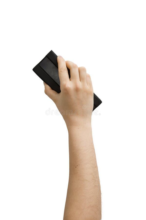 Hand, die Markierungsradiergummi anhält stockbilder