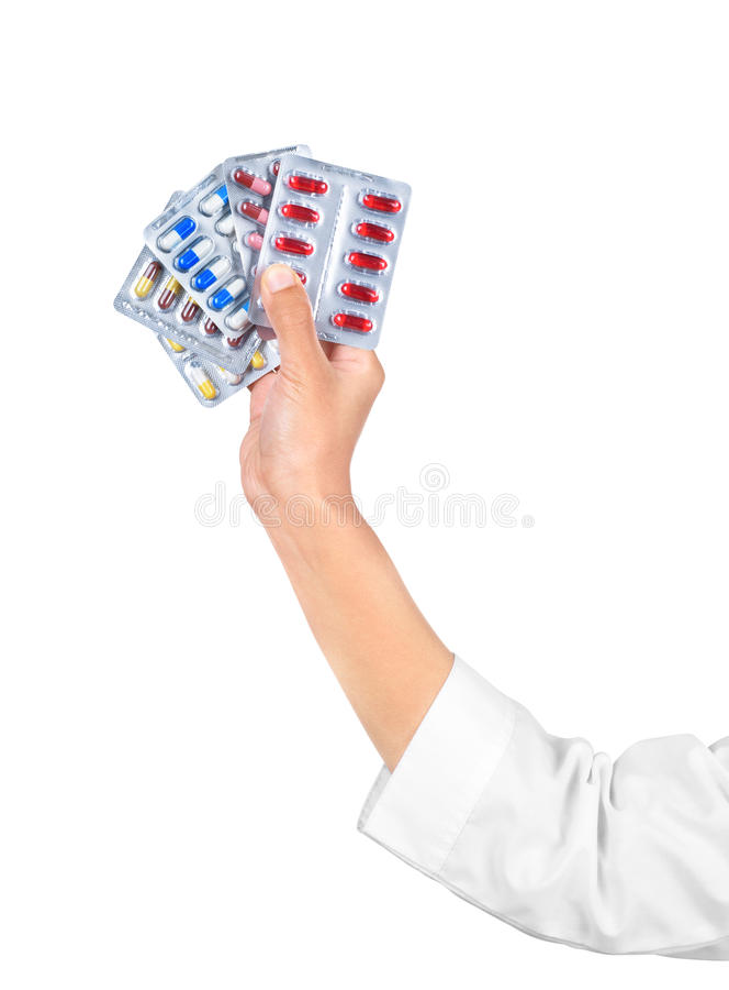 Hand die medische drugs houdt stock fotografie