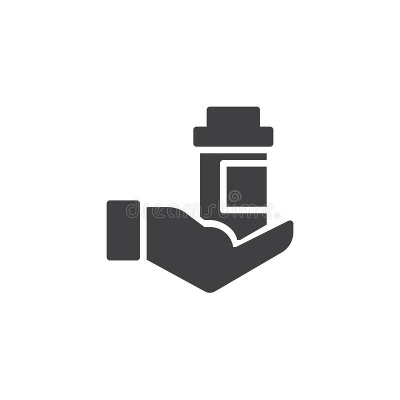 Hand, die Medizinflaschen-Vektorikone hält vektor abbildung