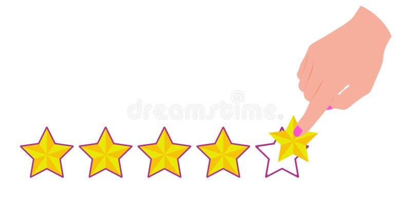 Hand die met de wijsvinger op de vijfde ster aan de tarief online winkel, product of dienst richten royalty-vrije illustratie