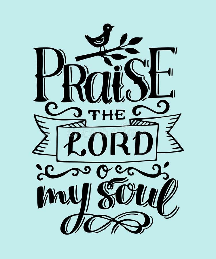 Hand die met het Lof van het bijbelvers Lord o van letters voorzien mijn ziel psalm royalty-vrije illustratie