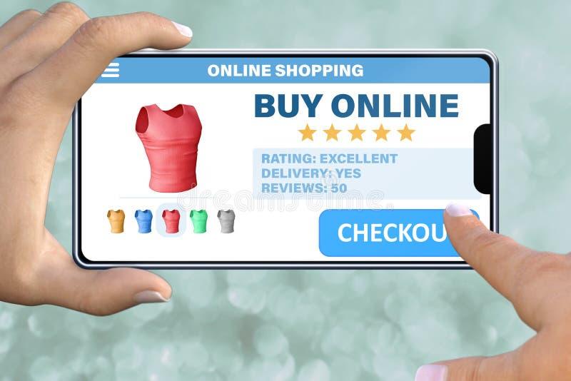 Hand die met smartphone de knoopcontrole op abstracte bokehachtergrond onttrekken - online het winkelen technologieconcept stock foto's