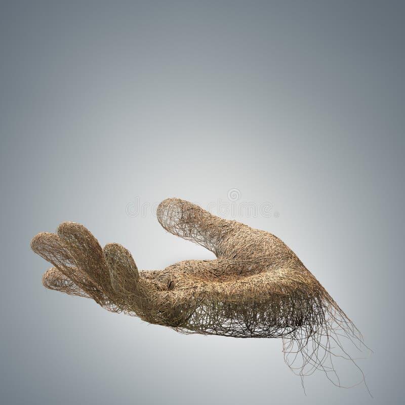 Hand - die met takkendraden wordt gemaakt vector illustratie