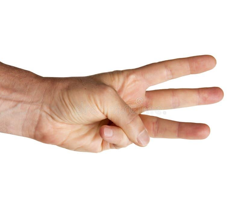 Hand, die mit den Fingern auf weißem Hintergrund zählt stockfoto