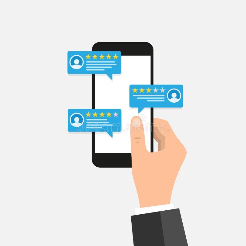 Hand die mobiele slimme telefoon met overzichtsclassificatie houden Overzichtensterren met goed en slecht tarief en tekst, concep vector illustratie