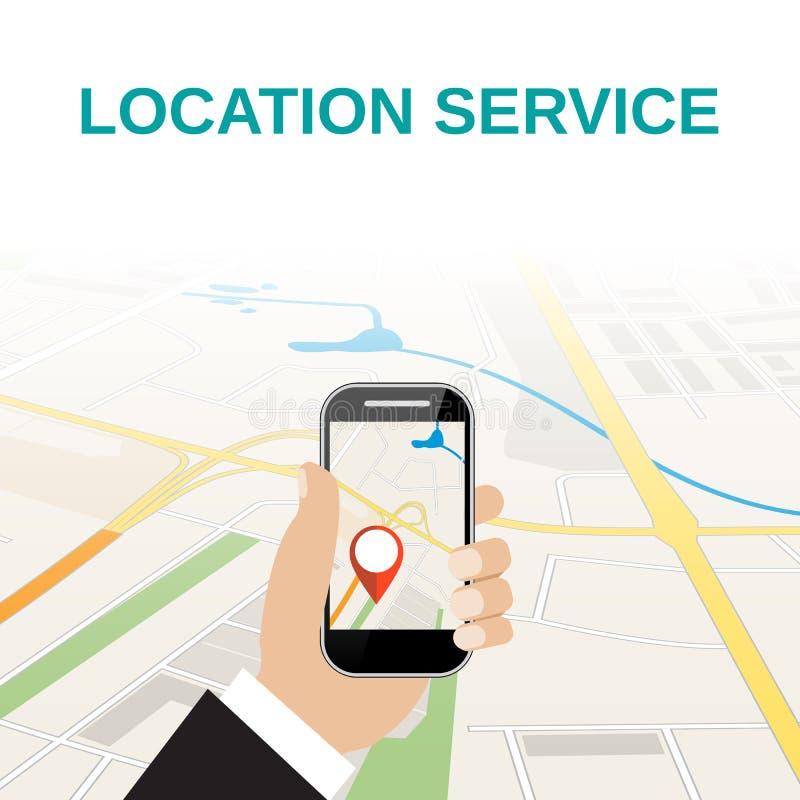 Hand die mobiele telefoon met navigatietoepassing houden royalty-vrije illustratie