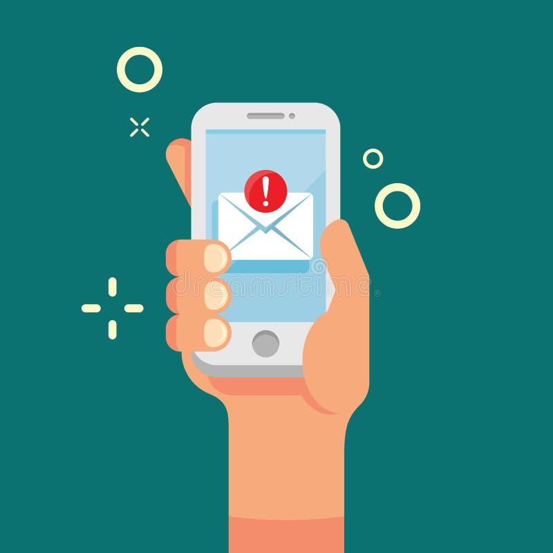 Hand die mobiele telefoon met nieuw e-mailpictogram houden Nieuw inkomend bericht op de vlakke stijl van het schermsmartphone Pra vector illustratie