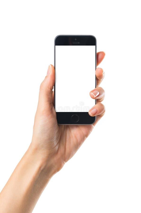 Hand die mobiele telefoon toont royalty-vrije stock afbeeldingen