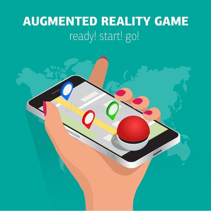 Hand die mobiele telefoon vlakke illustratie houden Vangstmonsters met gps Vrij te spelen Op plaats-gebaseerde vergrote werkelijk stock illustratie