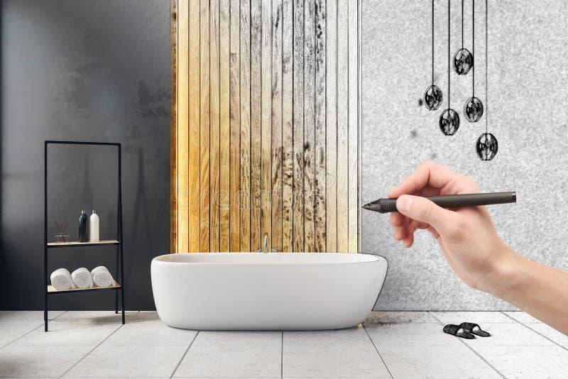 Hand die moderne badkamers trekken stock illustratie