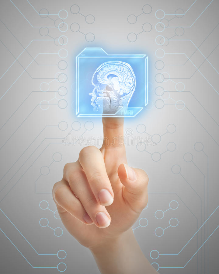 Hand die MRI-knoop duwen stock afbeeldingen