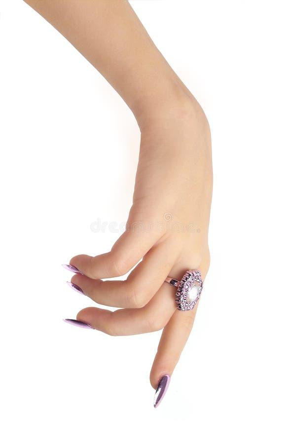 Hand die neer richt stock afbeelding