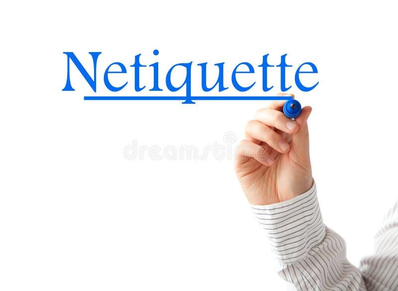 Hand die Netiquette-woord schrijven royalty-vrije stock foto