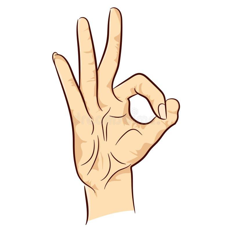Hand die O.K. teken tonen stock afbeeldingen
