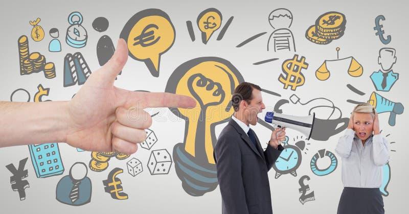 Hand die op bedrijfsmensen tegen witte achtergrond bedrijfspictogrammen richten stock foto