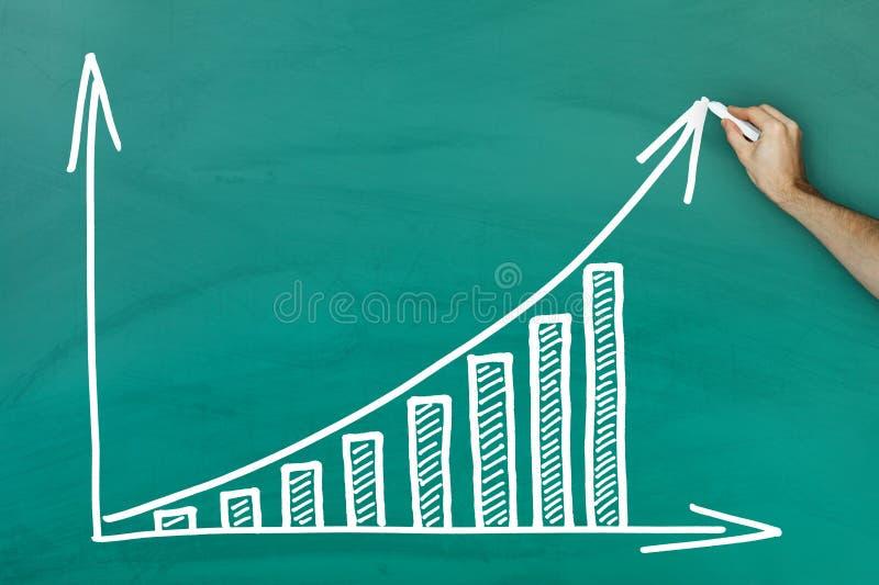 Hand die op de grafiekbord van de winstgroei schrijven stock afbeeldingen