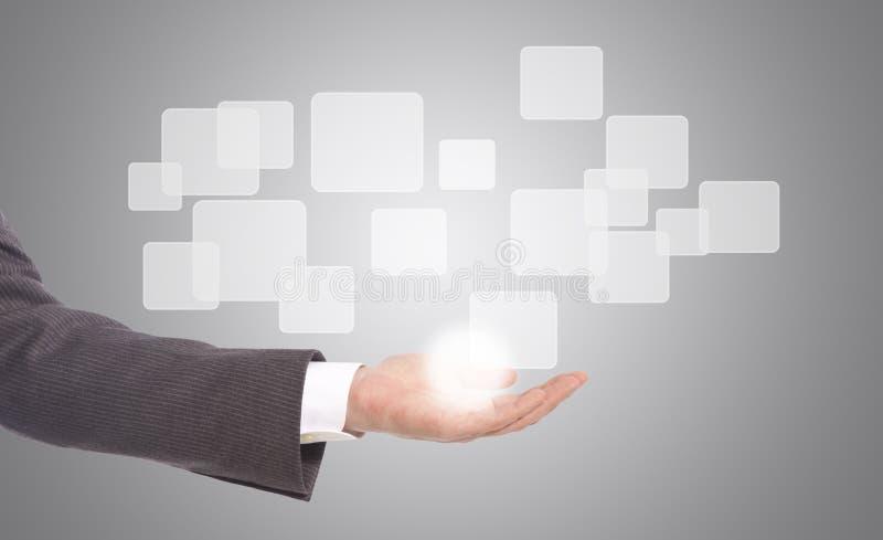 Download Hand Die Op Een Interface Van Het Aanrakingsscherm Duwen Stock Illustratie - Illustratie bestaande uit geavanceerd, toekomst: 29506265
