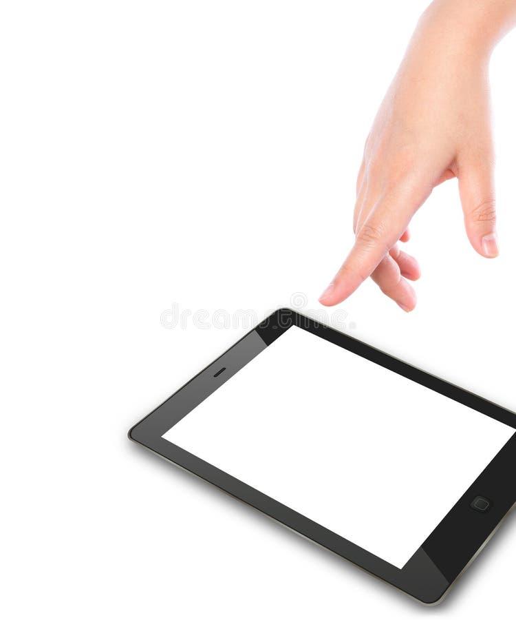 Hand die op het apparaat van het aanrakingsscherm richt royalty-vrije stock foto