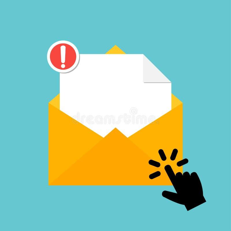 Hand die op het pictogram van de berichtenvelop richten Nieuw e-mailbericht met de aandacht van de gevaarswaarschuwing stock illustratie