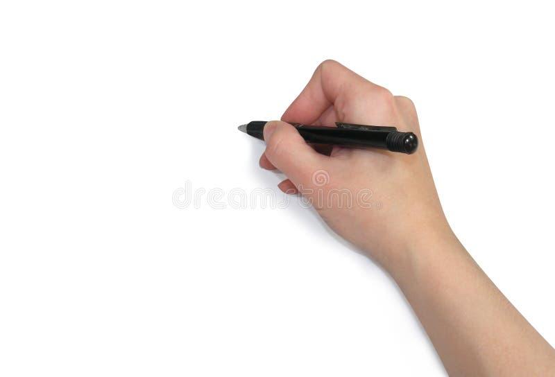 Hand die op papier Schrijft stock foto's