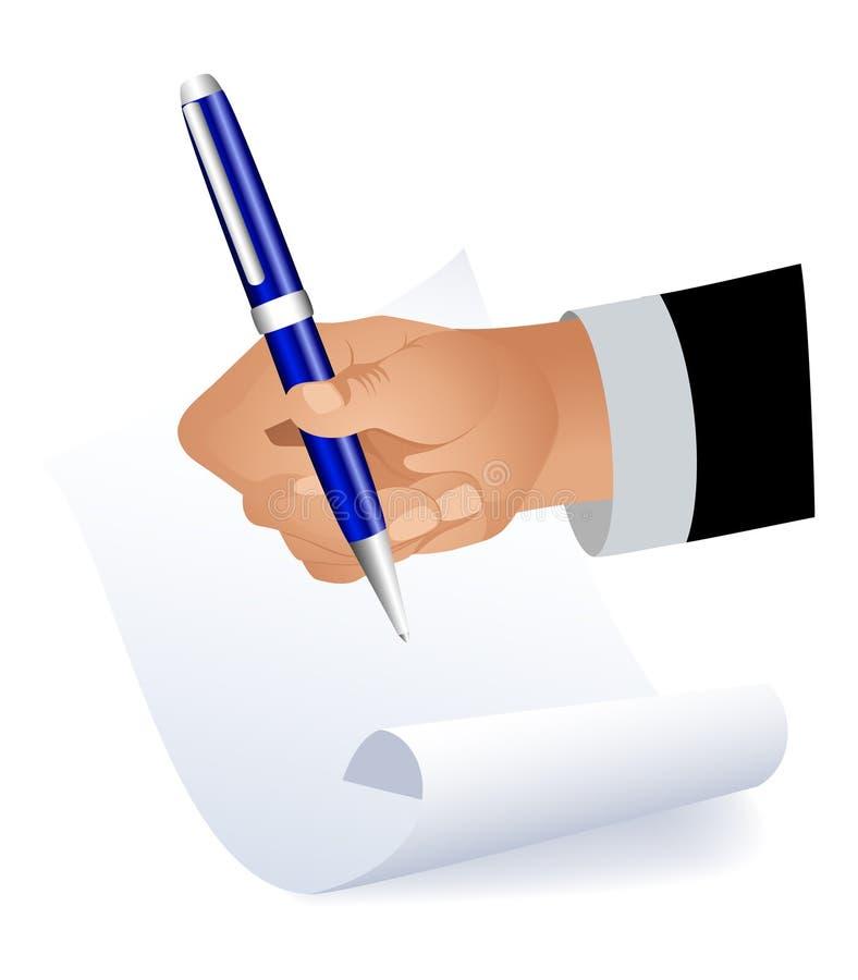 Hand die op papier schrijft royalty-vrije illustratie
