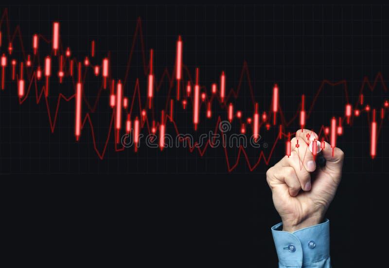 Hand die op voorraad dalende grafiek trekken stock foto