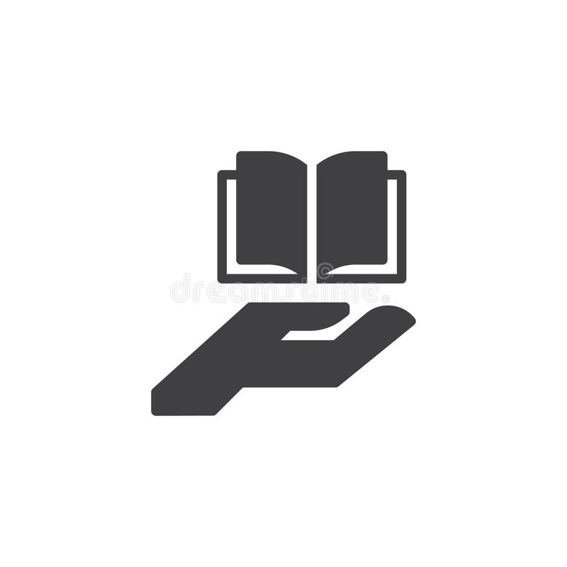 Hand die open boek vectorpictogram geven vector illustratie