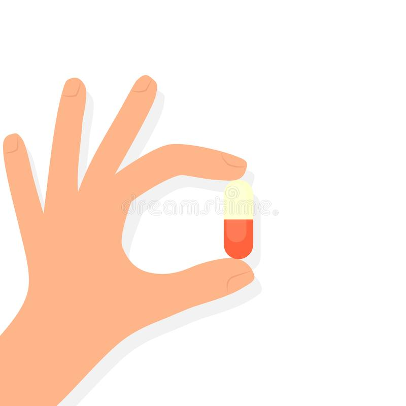 Hand, die Pille hält vektor abbildung