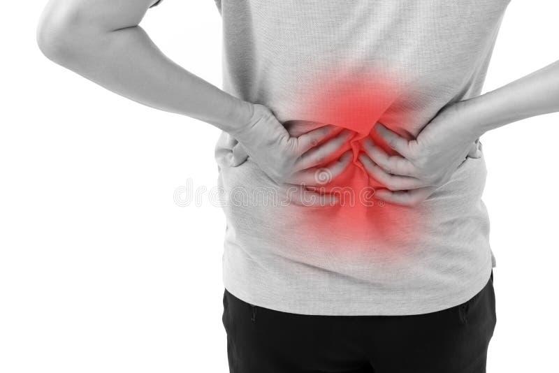 Hand, die Rückenschmerzen hält lizenzfreie stockfotografie