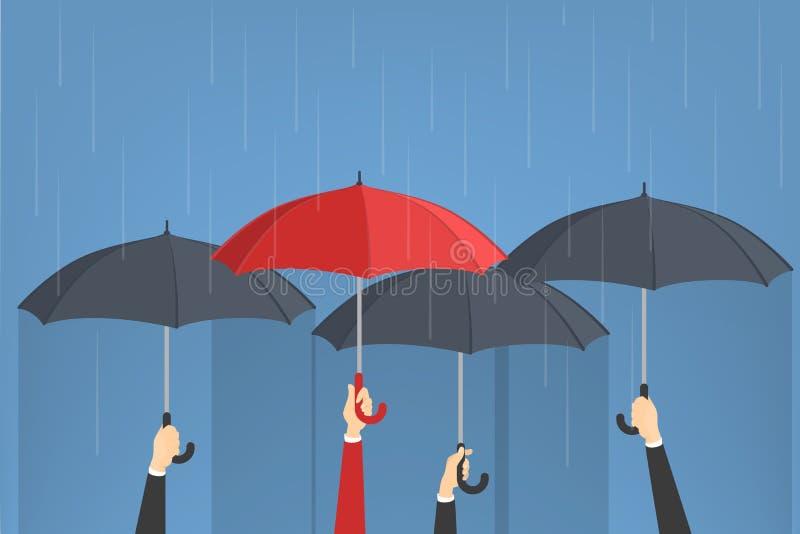 Hand, die Regenschirme hält stock abbildung