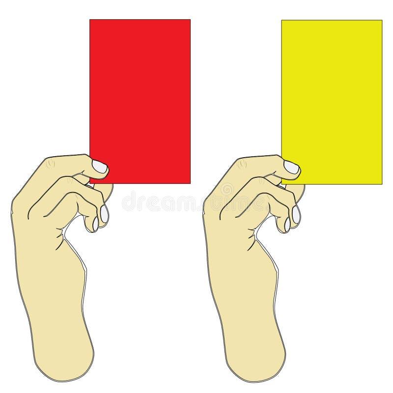 Hand die rode en gele kaart houden stock illustratie