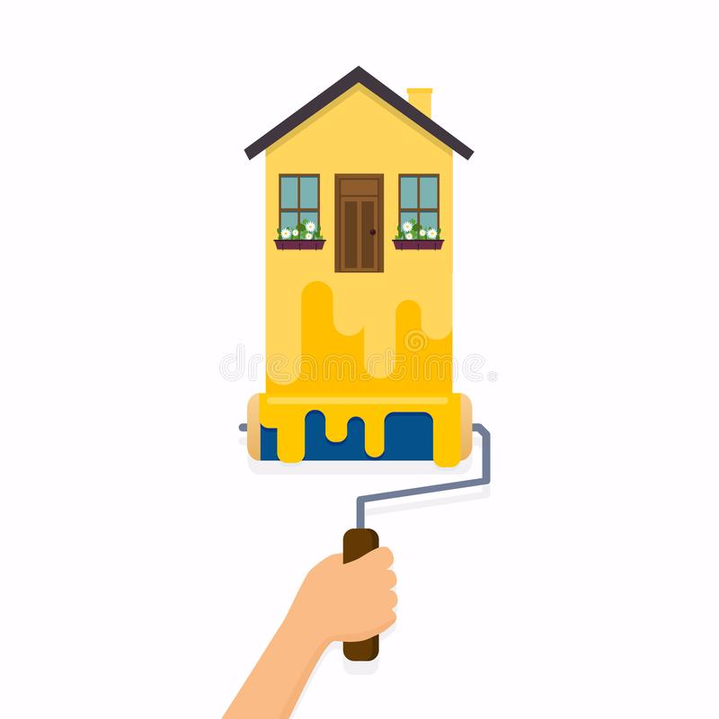 Hand, die Rollenbürste hält und ein Haus malt vektor abbildung