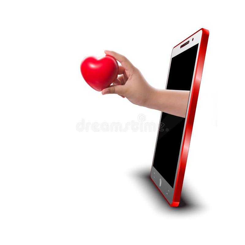 Hand die rood hart houdt royalty-vrije stock foto