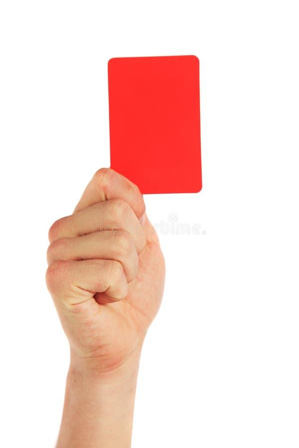 Hand, die rote Karte anhält stockfotos