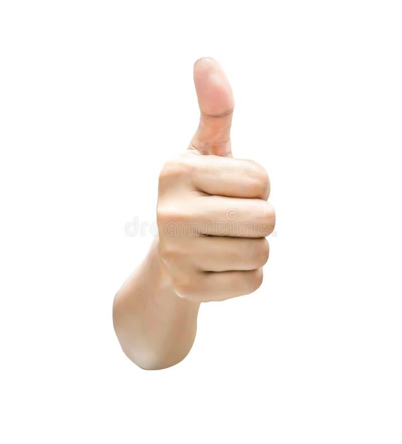 Hand, die sich Daumen zeigt stockfoto
