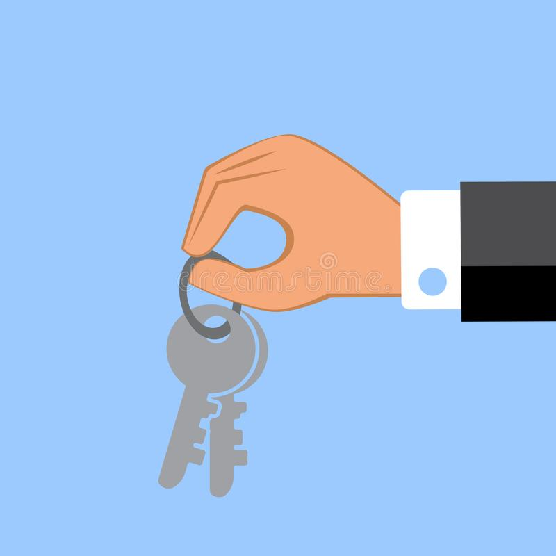 Hand die sleutels geeft Vector illustratie stock illustratie