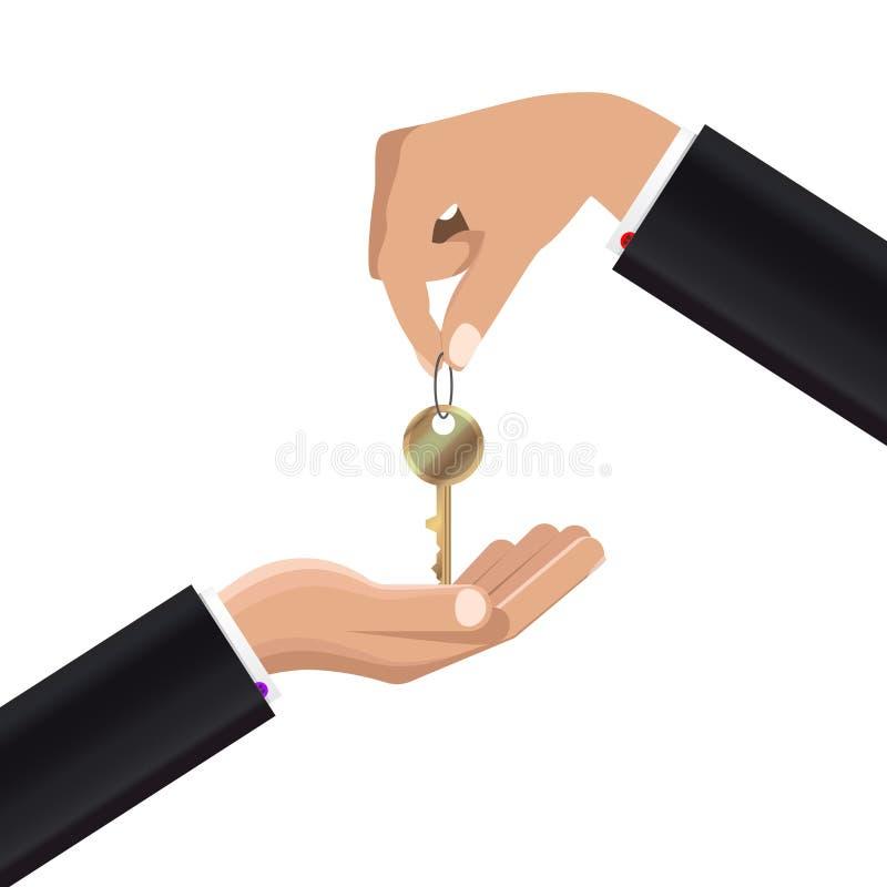 Hand die sleutels geven aan andere hand Vector vector illustratie