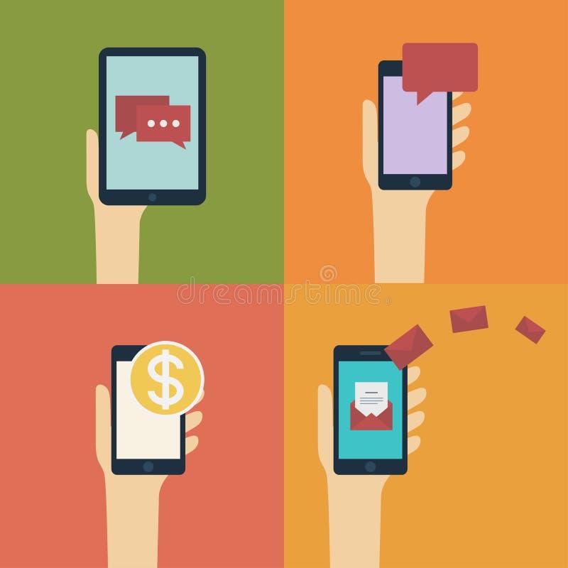 Hand die slimme/mobiele telefoon en tablet houden. Vector vlakke ontwerpillustratie royalty-vrije illustratie