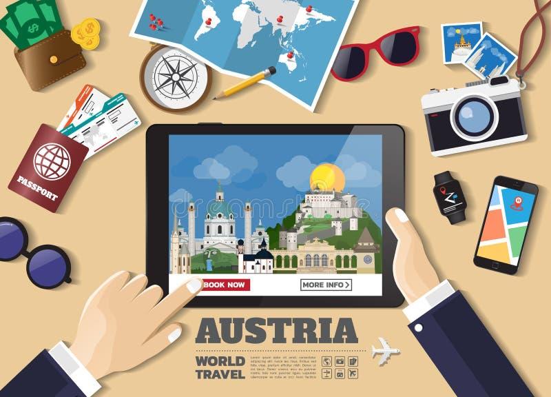 Hand die slimme tablet het boeken reisbestemming houden De beroemde plaatsen van Australi? Vectorconceptenbanners in vlakke stijl vector illustratie