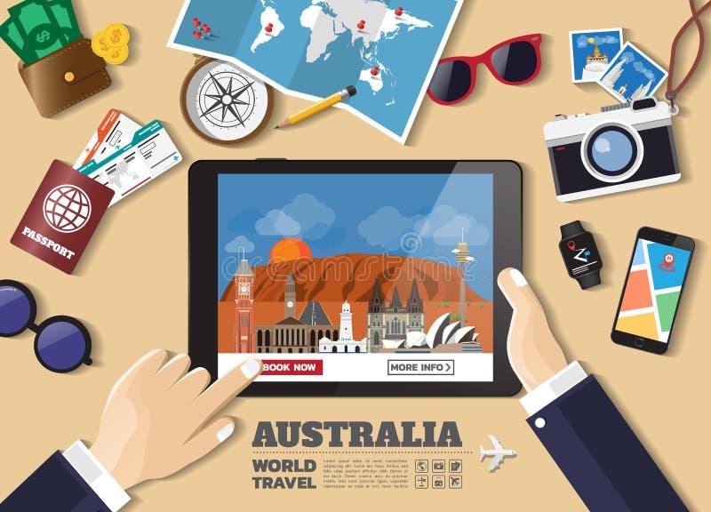 Hand die slimme tablet het boeken reisbestemming houden De beroemde plaatsen van Australi? Vectorconceptenbanners in vlakke stijl stock illustratie